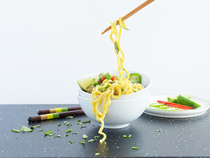 Lightning Fast Thai Curly Coconut Curry Noodles