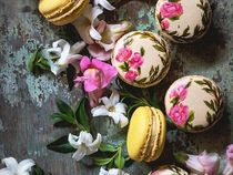 Hand Painted White Tea Macrons
